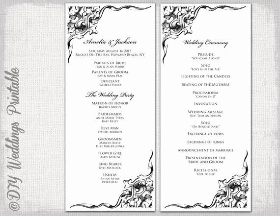 Wedding Program Template Google Docs Awesome Wedding Program Template Black & White Wedding Program Black