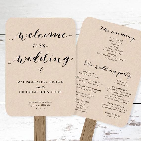 Wedding Program Template Google Docs Beautiful Wedding Program Fan Template Printable Rustic Wedding Fan