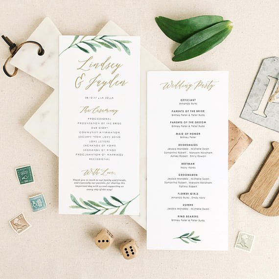 Wedding Program Template Google Docs Best Of Greenery Wedding Programs Template Printable Wedding Program