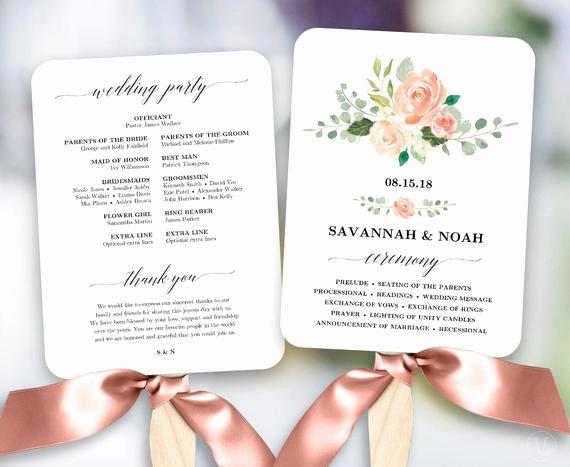 Wedding Program Template Google Docs Best Of Peach Blush Floral Wedding Program Fan Template Printable Fan