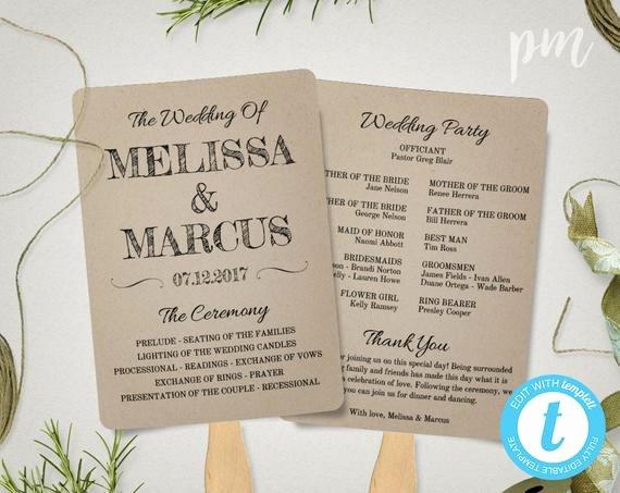 Wedding Program Template Google Docs Luxury Rustic Wedding Program Fan Template Fan Wedding Program