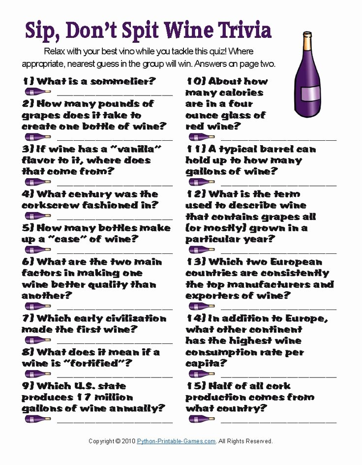 Wine Tasting Games Printable Fresh Sip Don T Spit Wine Trivia Wine Facts 101