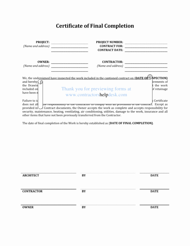 Work Completed form Template Elegant Contractors Help Desk forms