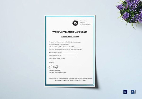 Work Completed form Template New Printable Certificates Of Pletion