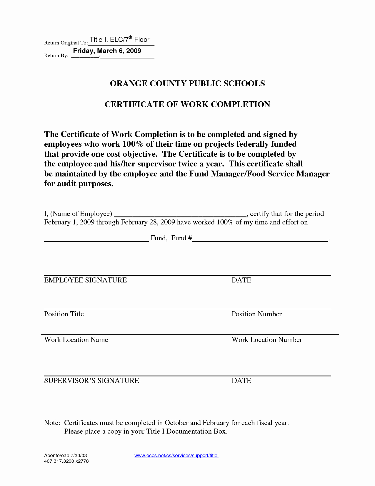 Work Completed form Template Unique Certificate Work Pletion Free Printable Documents