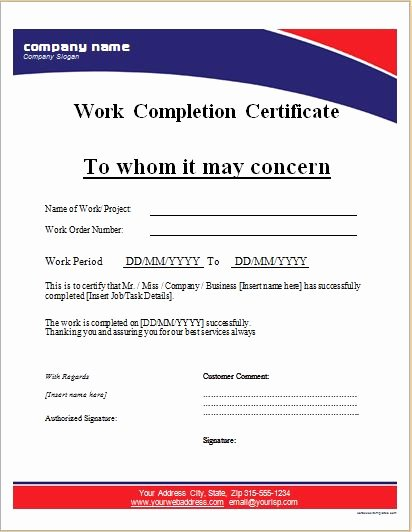 Work Completed form Template Unique Work Pletion Certificates for Ms Word