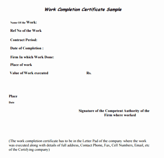 Work Completion form Template Awesome 25 Work Pletion Certificate Templates Word Excel Samples