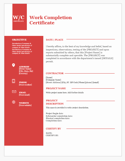 Work Completion form Template Awesome 9 Best Work Pletion Certificates for Ms Word