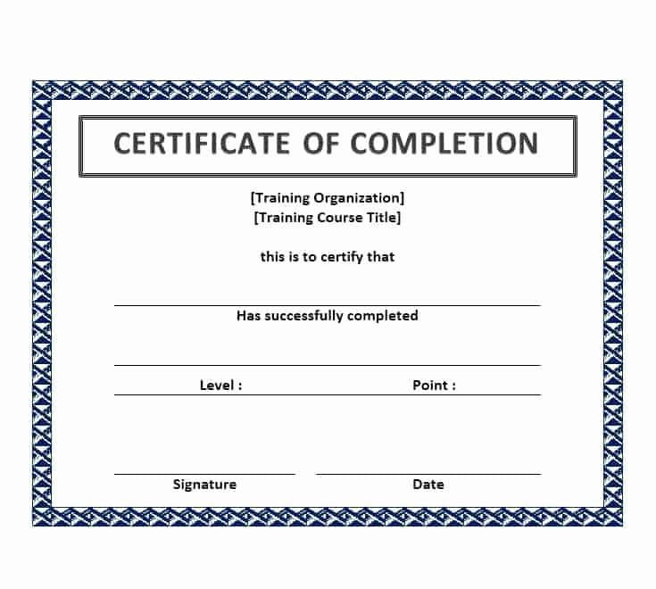 Work Completion form Template Best Of 25 Work Pletion Certificate Templates Word Excel Samples