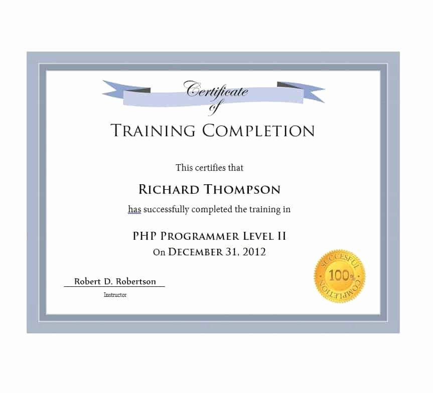 work pletion certificate templates