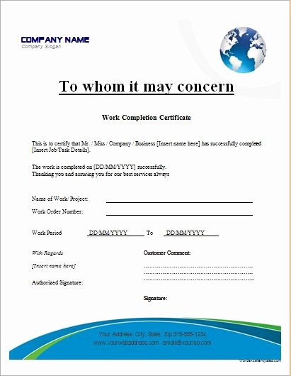 Work Completion form Template Fresh Certificate Templates