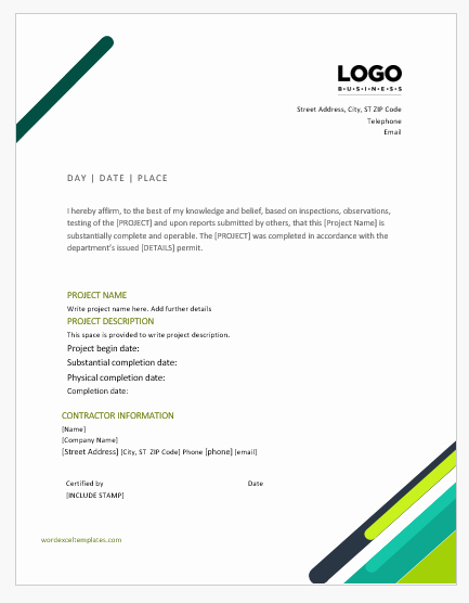 Work Completion form Template Unique 9 Best Work Pletion Certificates for Ms Word
