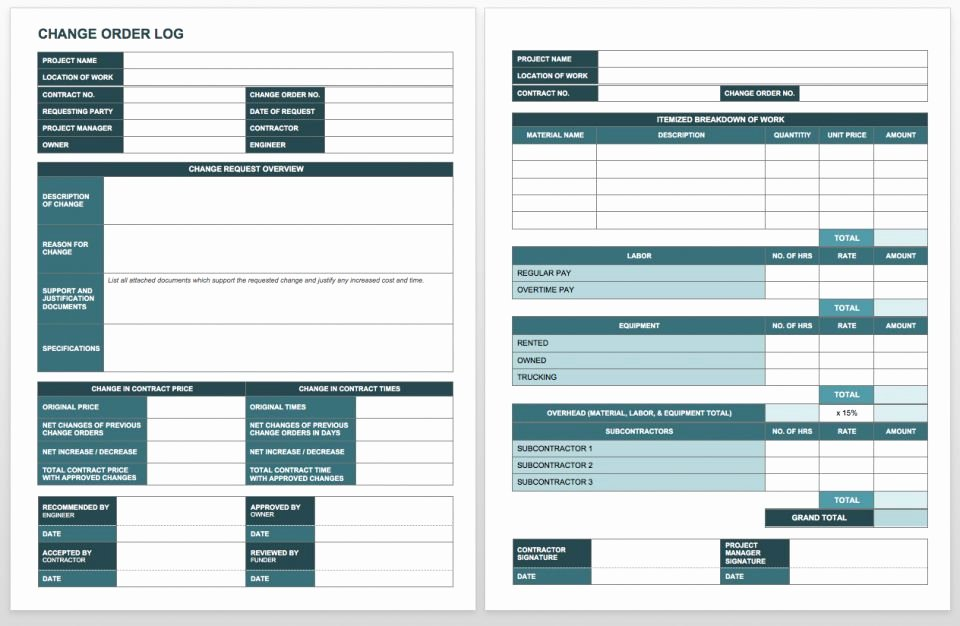 Work order Log Template Awesome Plete Collection Of Free Change order forms