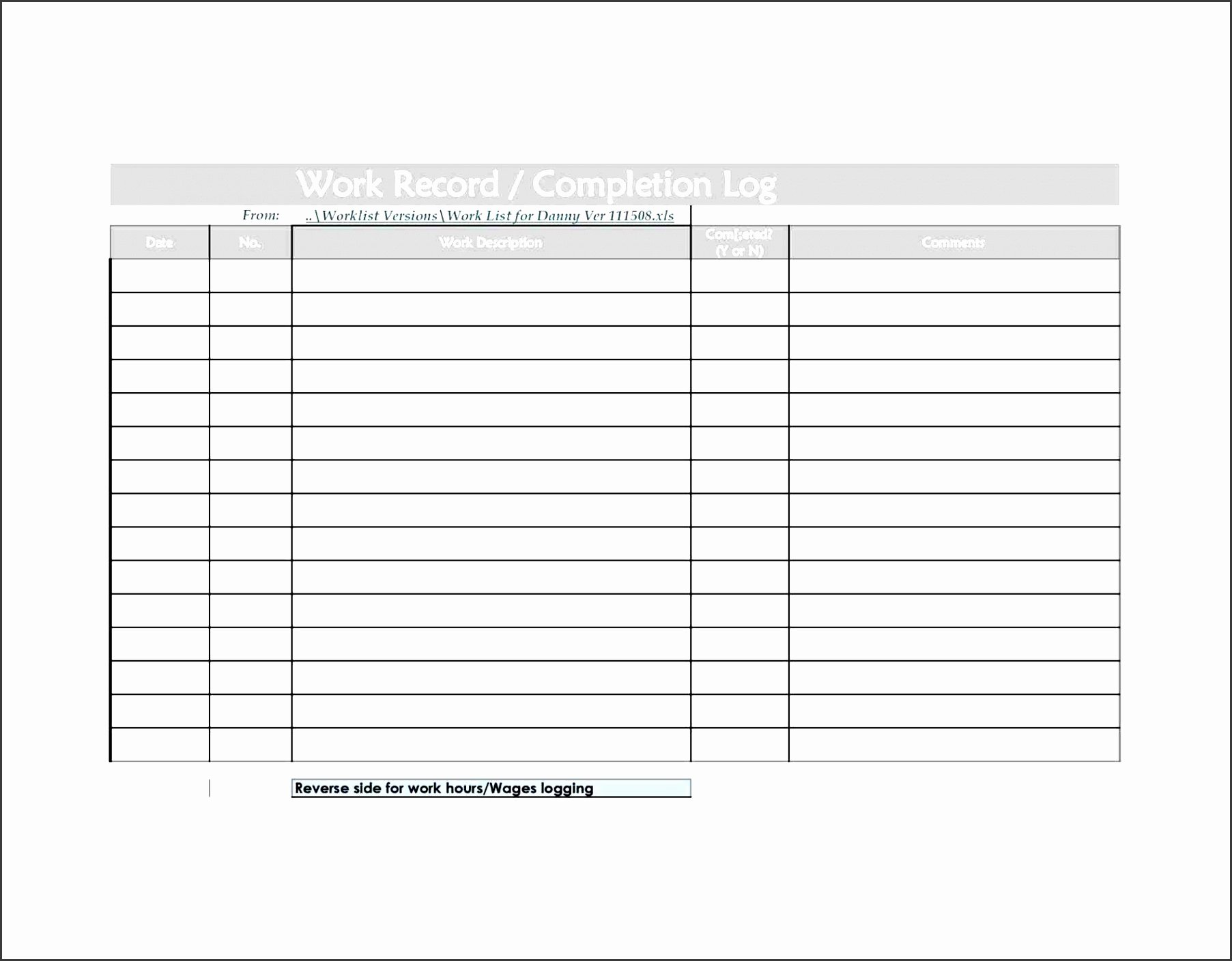 Work order Log Template Beautiful 10 Daily Work Log Template for Professional Use