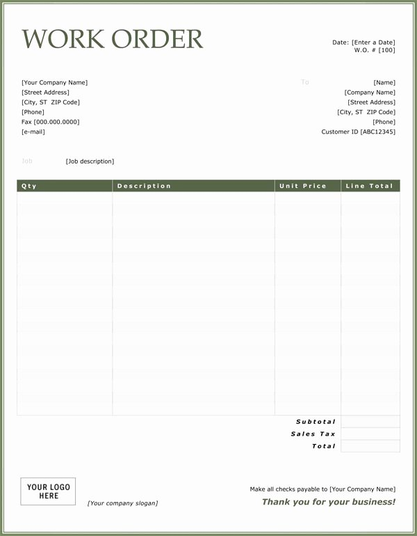 Work order Log Template Elegant Work order Template