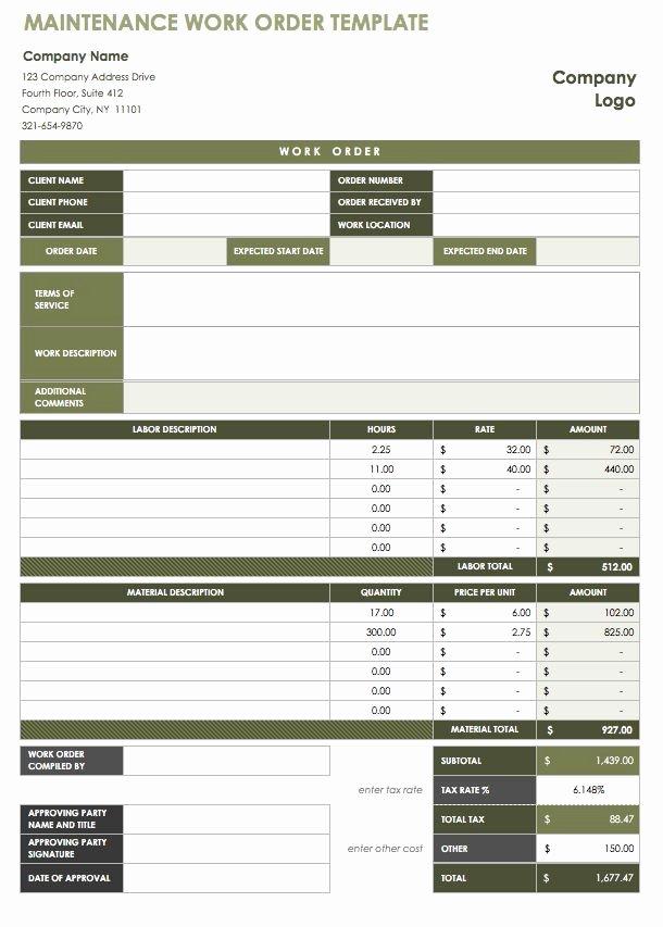Work order Log Template Unique Work order Template
