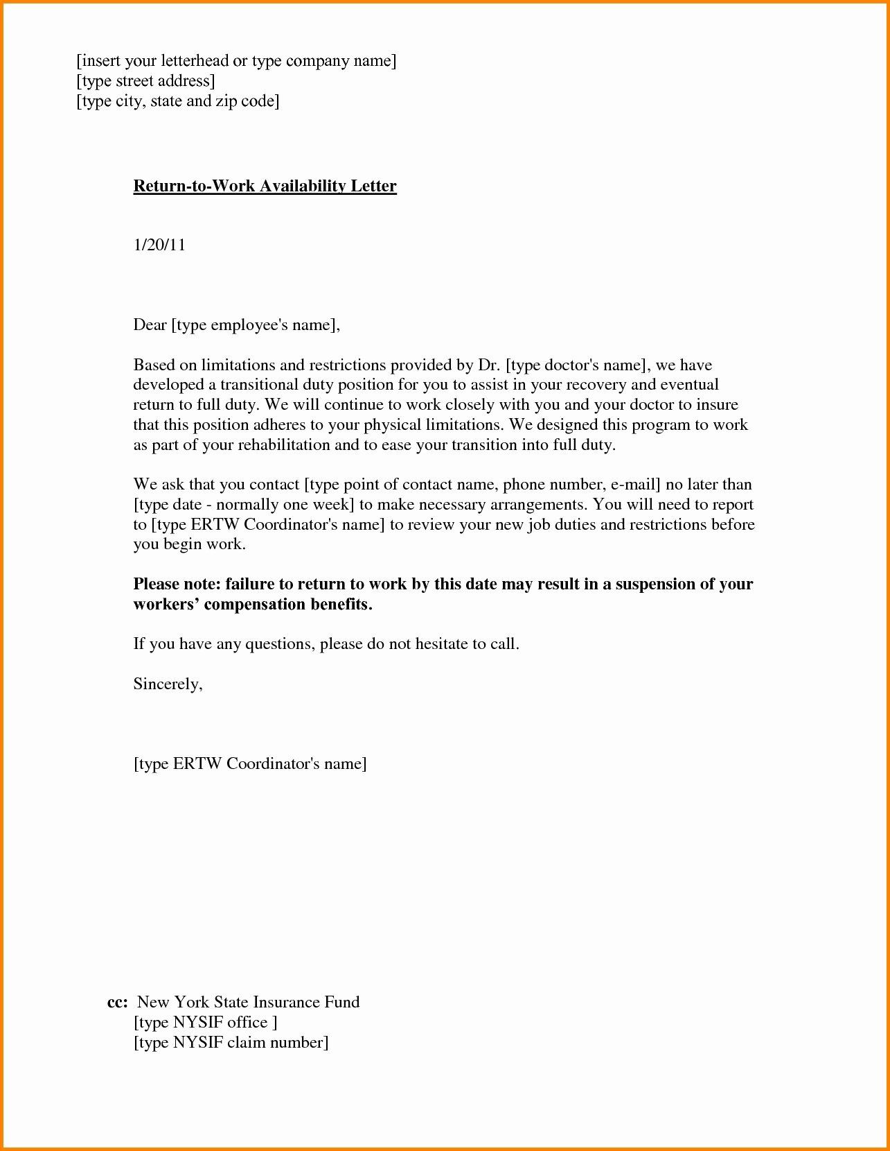 Work Restriction Letter Beautiful Return to Work with Restrictions Letter
