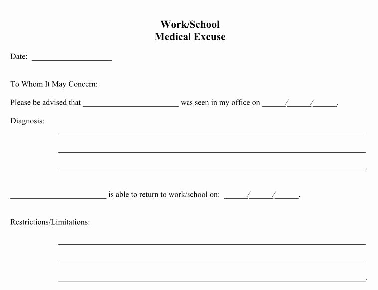 Work Restriction Letter Fresh 21 Free Doctor Note Excuse Templates Template Lab