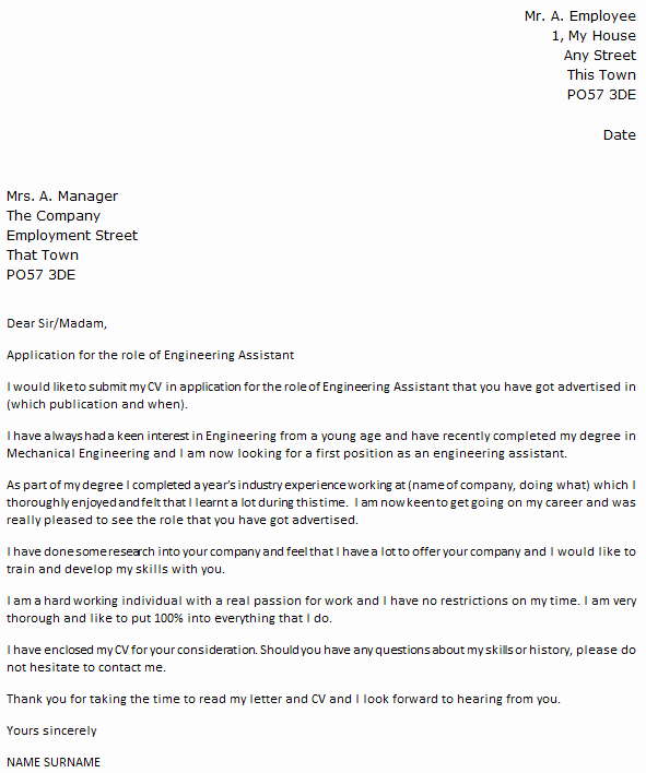 Work Restriction Letter Fresh Engineering assistant Cover Letter Example Icover