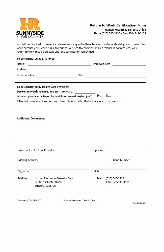 Work Restriction Letter Inspirational 49 Best Return to Work [& Work Release forms] Template Lab