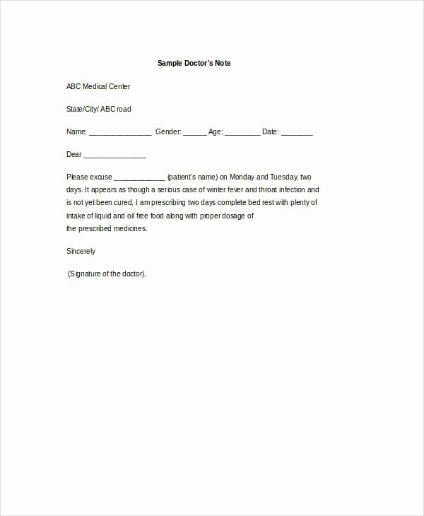 Work Restriction Letter Luxury Free 8 Doctor Note Examples & Samples In Pdf Doc