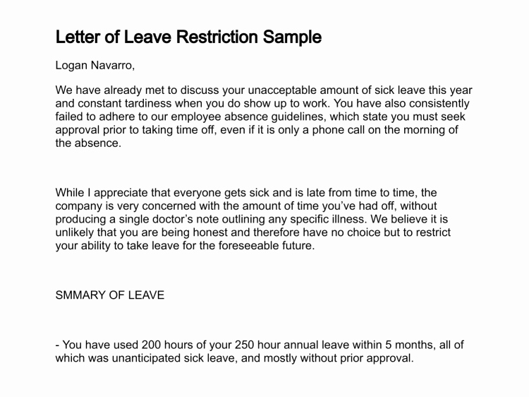 Work Restrictions Letter Fresh Leave Letter Due to Illness Writing An Emergency Leave