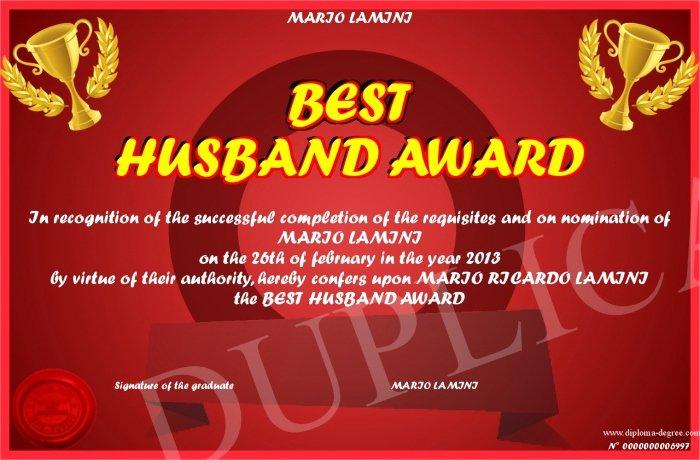 World's Best Boyfriend Award Beautiful Best Husband Award