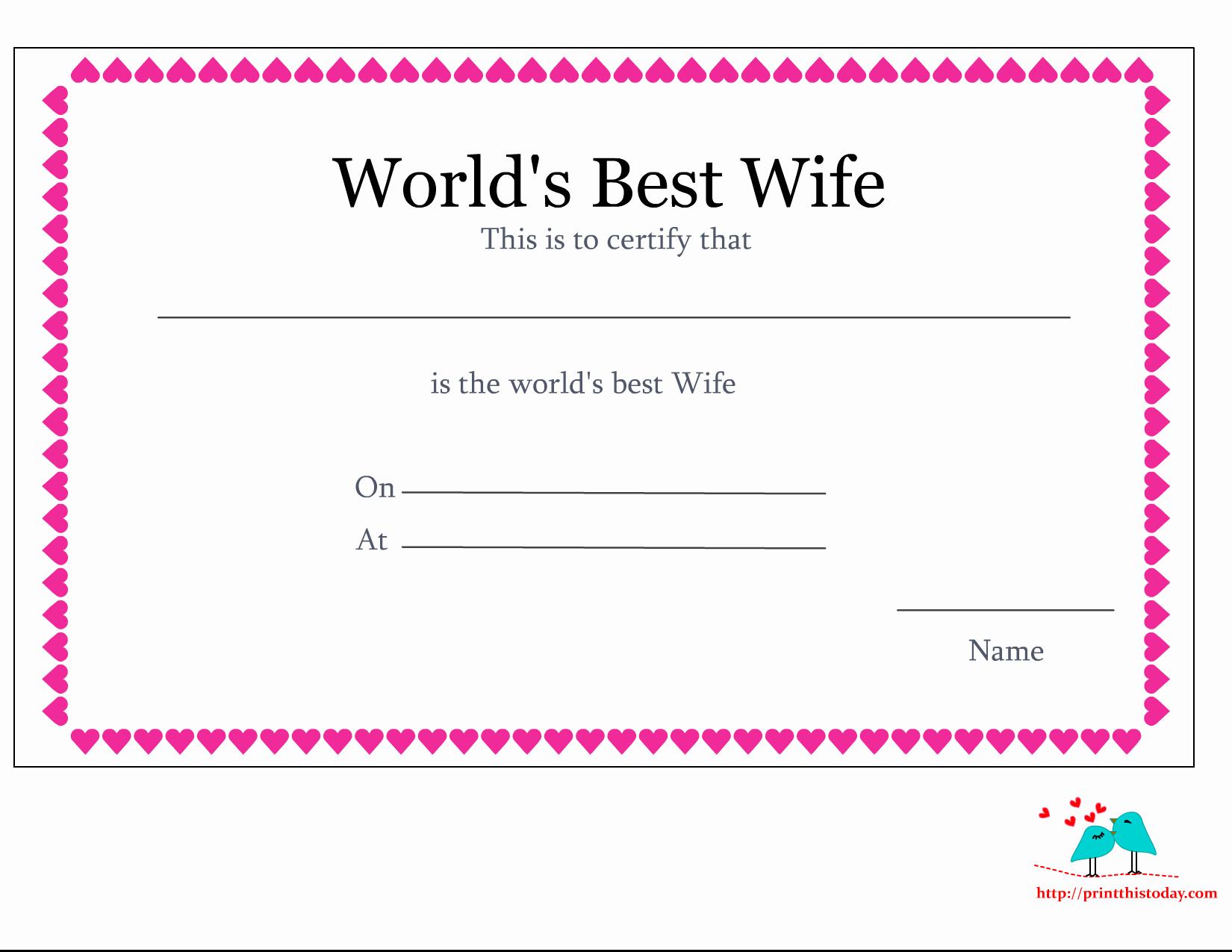 World's Best Boyfriend Award Lovely Free Printable World S Best Wife Certificates