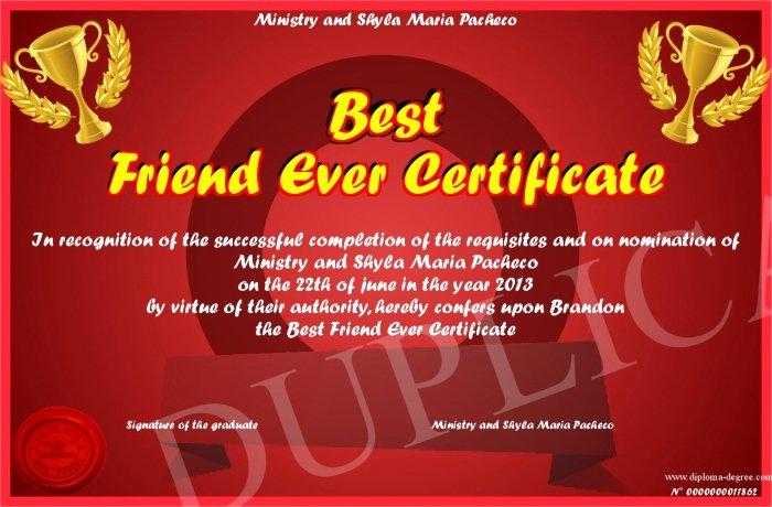 World's Best Friend Award Luxury Best Friend Ever Certificate