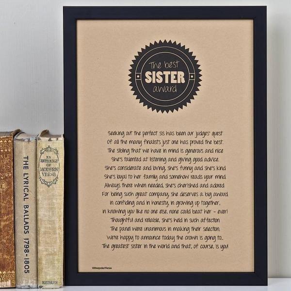 World's Best Friend Award New Best Sister Award Poem Print – Bespoke Verse