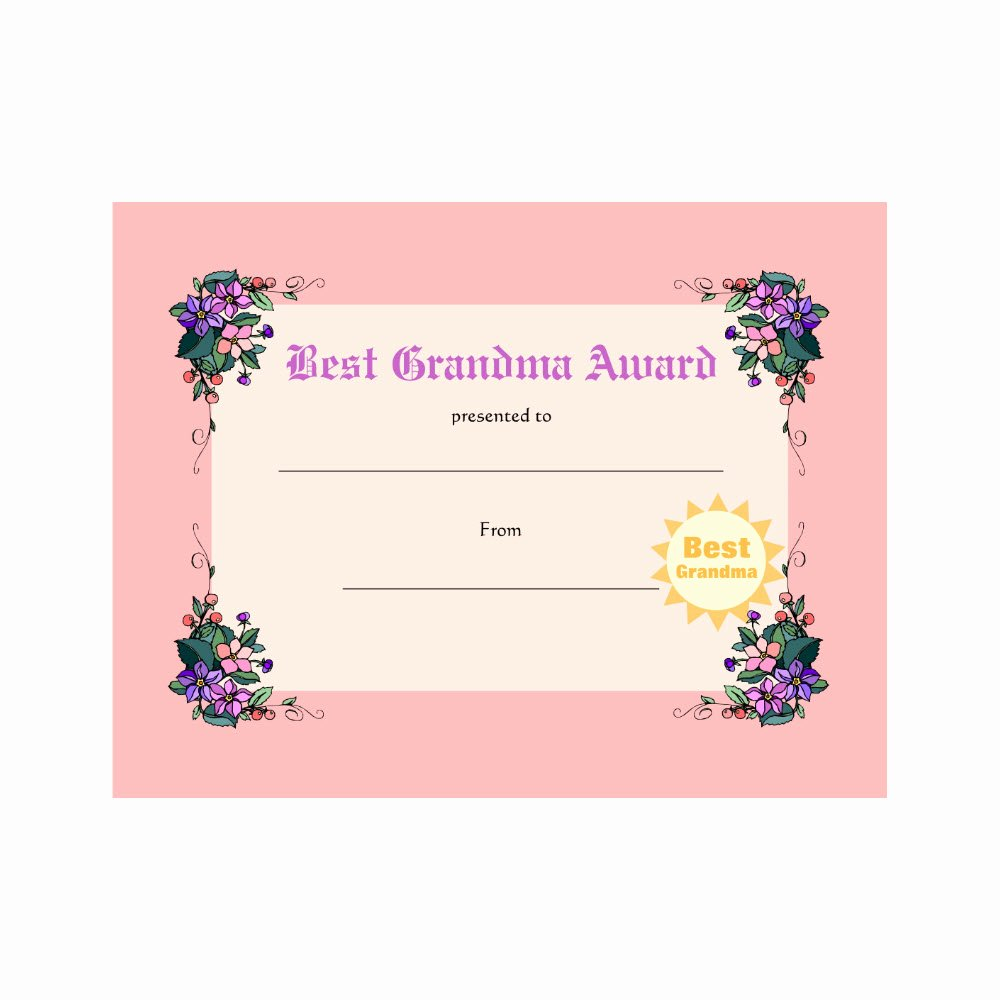 World's Best Grandpa Certificate Printable Awesome Best Grandma Award Certificate – Mayda Mart