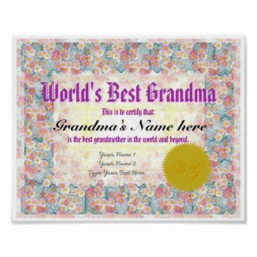 World's Best Grandpa Certificate Printable Inspirational World S Best Grandma Award Certificate Print