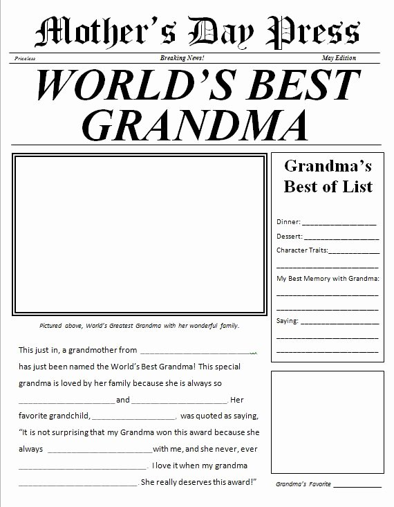 World's Best Grandpa Certificate Printable Unique Mother S Day Newspaper for Grandma Free Printable
