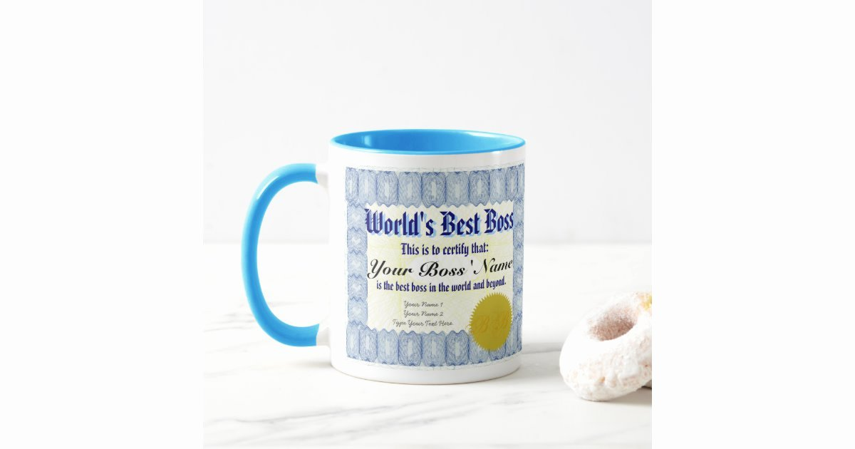Worlds Best Boss Certificate Awesome World S Best Boss Certificate Mug