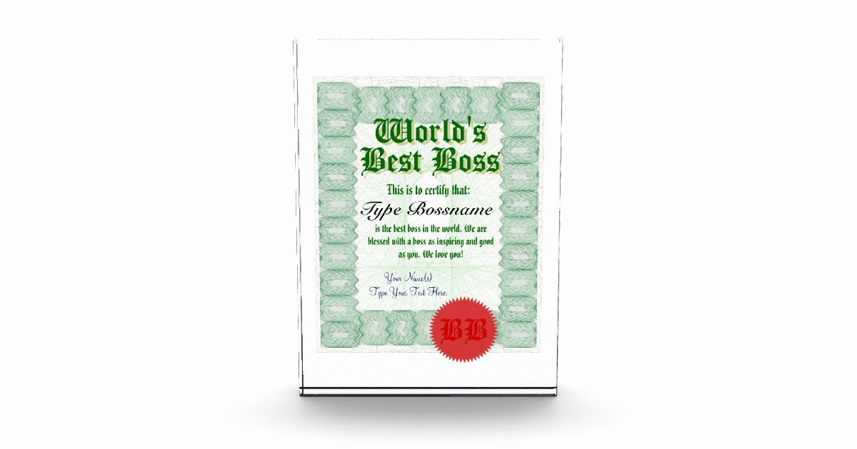 Worlds Best Boss Certificate Beautiful Make A World S Best Boss Certificate Award