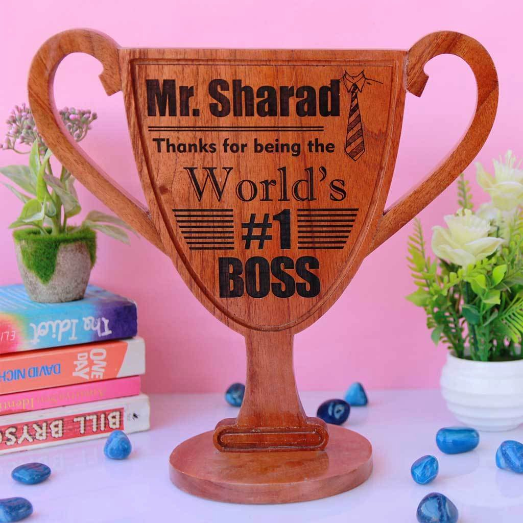 Worlds Best Boss Certificate Best Of World S Best Boss Award Trophy Wooden Trophy Thank You