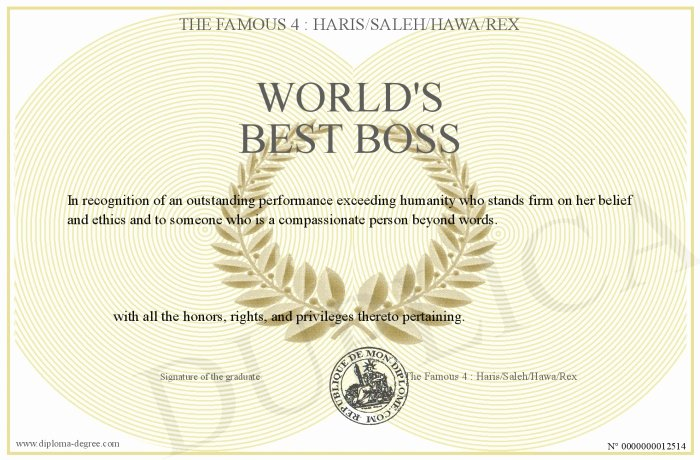 Worlds Best Boss Certificate Elegant World S Best Boss
