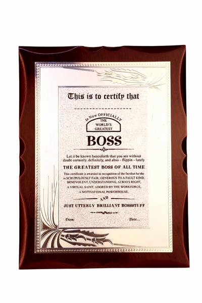 Worlds Best Boss Certificate Fresh Gift for Boss World S Best Boss Premium Certificate