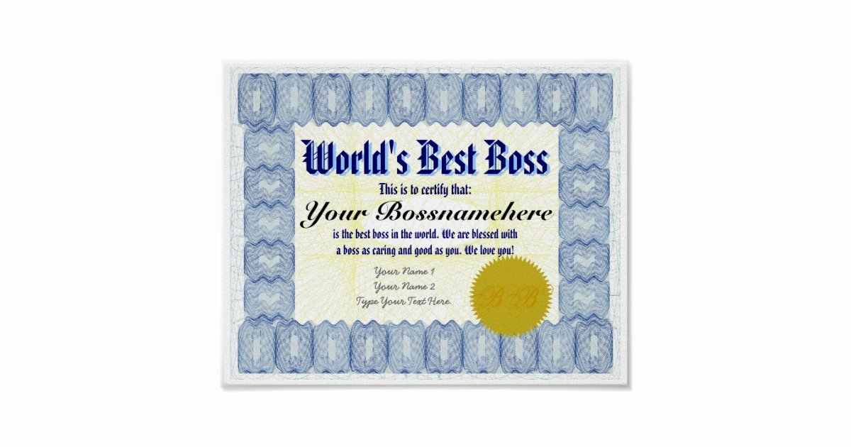 Worlds Best Boss Certificate Luxury World S Best B Oss Certificate Print