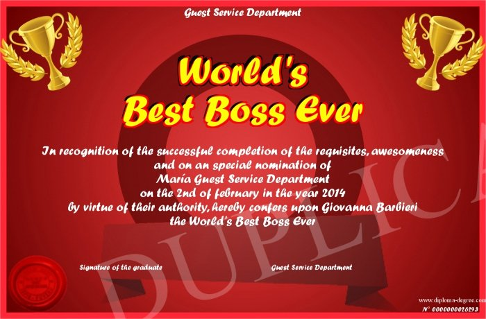 Worlds Best Boss Certificate New World S Best Boss Ever