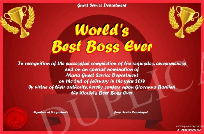 Worlds Best Boss Certificate Unique 30 Worlds Best Boss Certificate