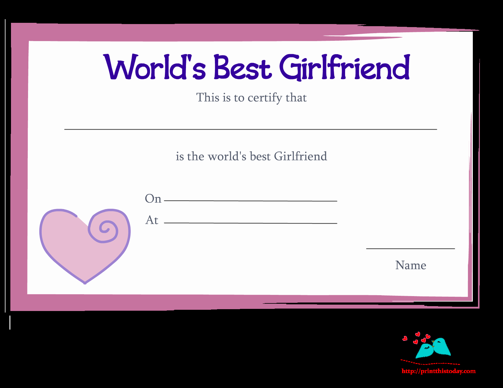 Worlds Best Boyfriend Award Beautiful Free Printable World S Best Girlfriend Certificates