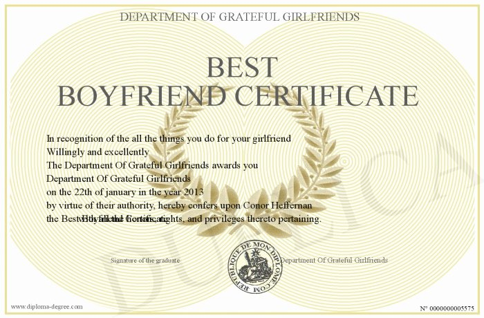 Worlds Best Boyfriend Award Fresh Best Boyfriend Certificate