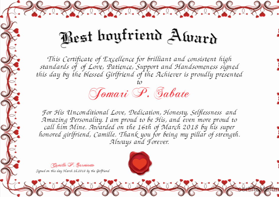 Worlds Best Boyfriend Award Inspirational Best Boyfriend Award Certificate