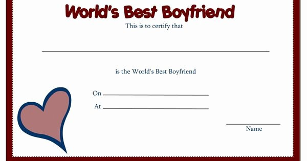 Worlds Best Boyfriend Award Inspirational Free Printable Award Certificate Borders