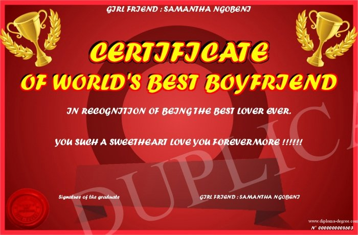 Worlds Best Boyfriend Award Lovely Certificate Of World S Best Boyfriend