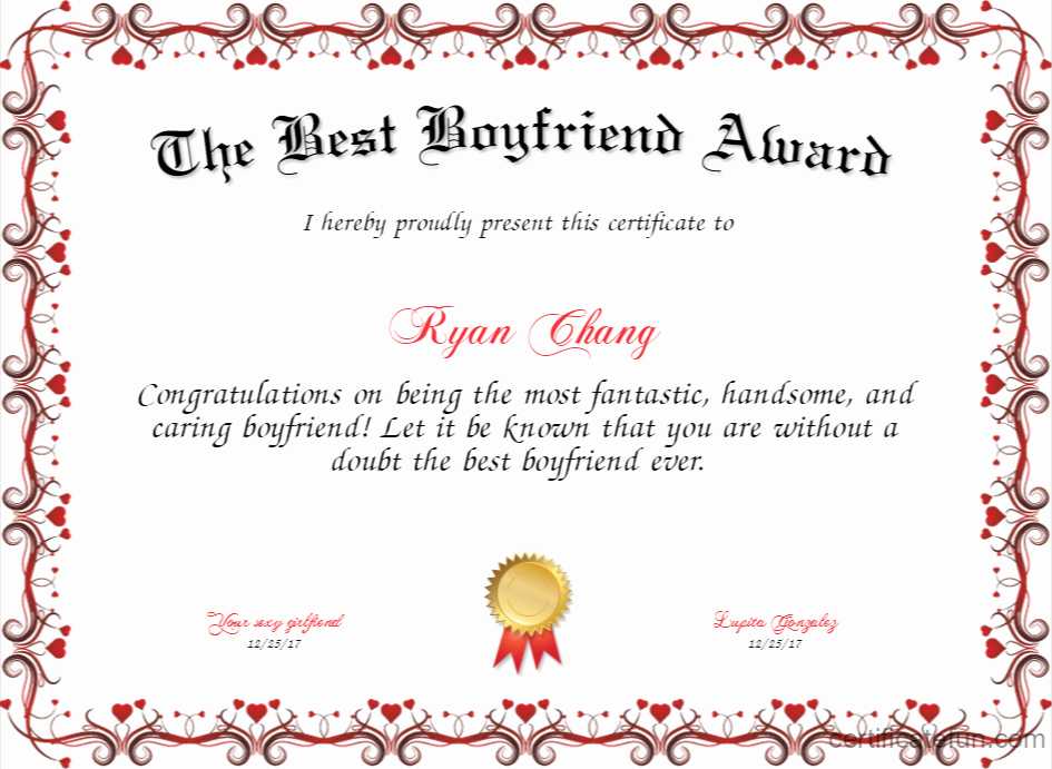 Worlds Best Boyfriend Award Lovely the Best Boyfriend Award Certificate
