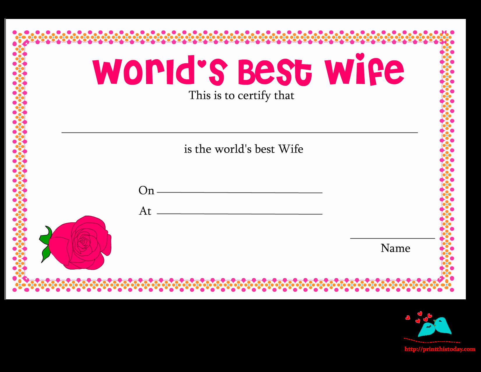 Worlds Best Boyfriend Award Luxury Free Printable World S Best Wife Certificates