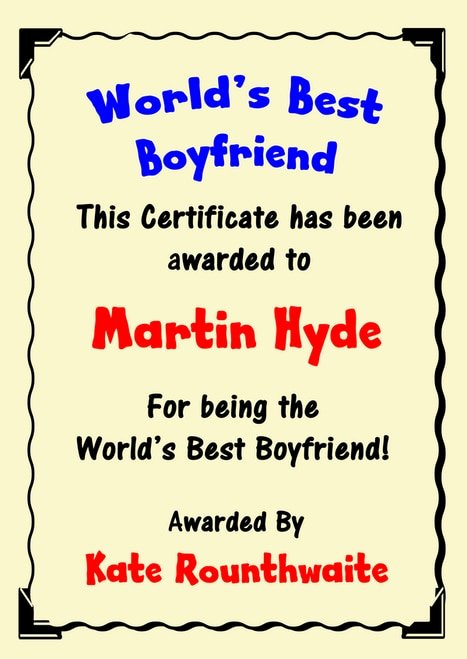 Worlds Best Boyfriend Award Unique Bright Bunting Chalk Alcohol Bar Love Story Personalised