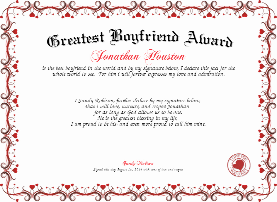 Worlds Best Boyfriend Award Unique Greatest Boyfriend Award Certificate
